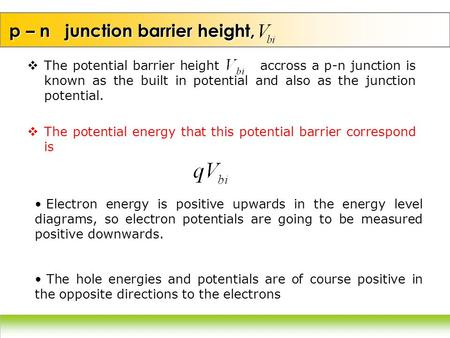 p – n junction barrier height,