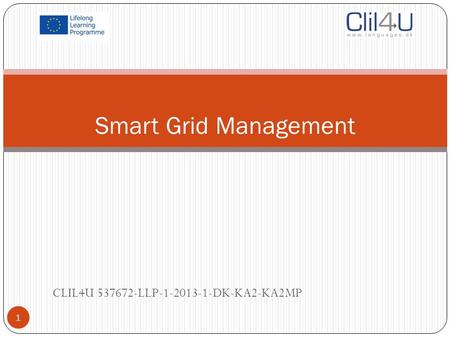 Smart Grid Management CLIL4U 537672-LLP-1-2013-1-DK-KA2-KA2MP 1.