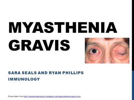 MYASTHENIA GRAVIS SARA SEALS AND RYAN PHILLIPS IMMUNOLOGY Picture taken from
