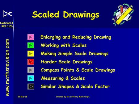 25-May-15Created by Mr. Lafferty Maths Dept. Measuring & Scales Working with Scales Scaled Drawings Scaled Drawings www.mathsrevision.com Making Simple.