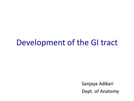 Development of the GI tract