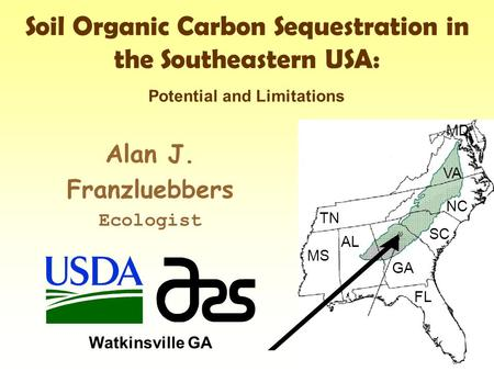 Soil Organic Carbon Sequestration in the Southeastern USA: Alan J. Franzluebbers Ecologist Watkinsville GA TN MS AL GA FL VA NC SC MD Potential and Limitations.
