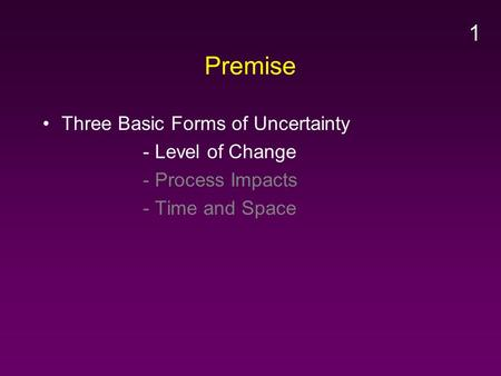Premise Three Basic Forms of Uncertainty - Level of Change - Process Impacts - Time and Space 1.