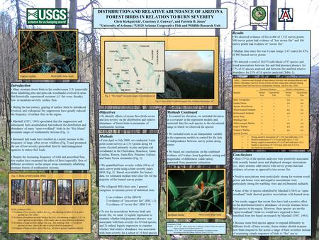 DISTRIBUTION AND RELATIVE ABUNDANCE OF ARIZONA FOREST BIRDS IN RELATION TO BURN SEVERITY Chris Kirkpatrick 1, Courtney J. Conway 2, and Patricia B. Jones.
