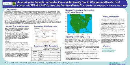 U. Shankar 1, D. McKenzie 2, J. Bowden 1 and L. Ran 1 Assessing the Impacts on Smoke, Fire and Air Quality Due to Changes in Climate, Fuel Loads, and Wildfire.