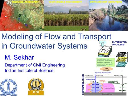 Modeling of Flow and Transport in Groundwater Systems M. Sekhar Department of Civil Engineering Indian Institute of Science RESOURCE ASSESSMENT BIOREMEDIATION.