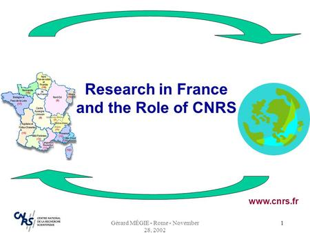 Gérard MÉGIE - Rome - November 28, 2002 1 Research in France and the Role of CNRS www.cnrs.fr.