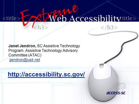 Janet Jendron, SC Assistive Technology Program, Assistive Technology Advisory Committee (ATAC) Web Accessibility