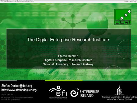  Copyright 2006 Digital Enterprise Research Institute. All rights reserved. www.deri.ie The Digital Enterprise Research Institute Stefan Decker Digital.