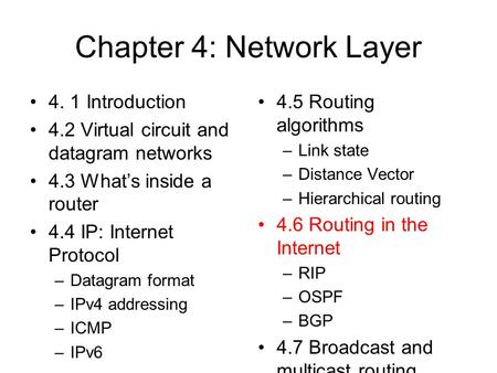 Chapter 4: Network Layer 4. 1 Introduction 4.2 Virtual circuit and datagram networks 4.3 What's inside a router 4.4 IP: Internet Protocol –Datagram format.