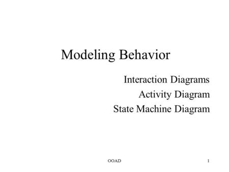 OOAD1 Modeling Behavior Interaction Diagrams Activity Diagram State Machine Diagram.