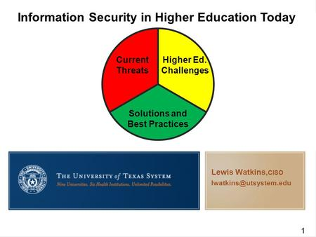 Information Security in Higher Education Today Current Threats