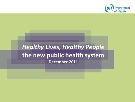 Click to edit Master title style Click to edit Master subtitle style Healthy Lives, Healthy People the new public health system December 2011.