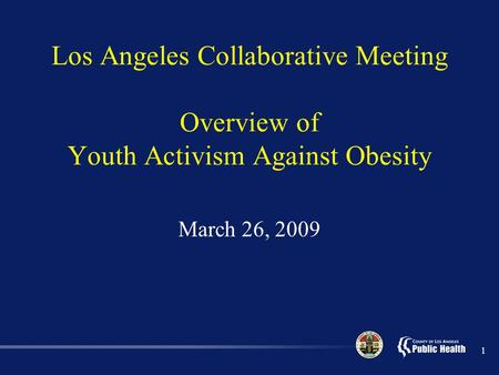 1 Los Angeles Collaborative Meeting Overview of Youth Activism Against Obesity March 26, 2009.