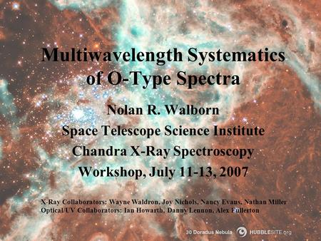 Multiwavelength Systematics of O-Type Spectra Nolan R. Walborn Space Telescope Science Institute Chandra X-Ray Spectroscopy Workshop, July 11-13, 2007.