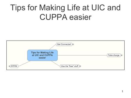 1 Tips for Making Life at UIC and CUPPA easier. 2 Get Connected.