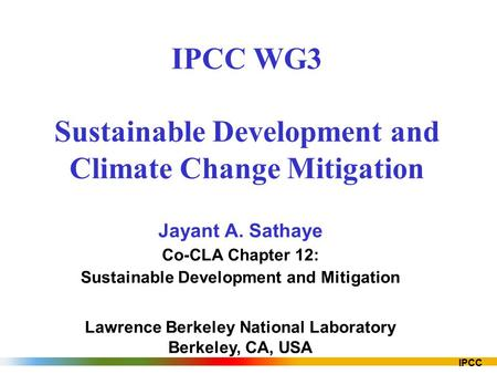 IPCC WG3 Sustainable Development and Climate Change Mitigation