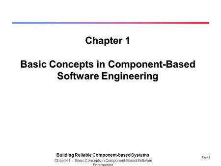 Basic Concepts in Component-Based Software Engineering