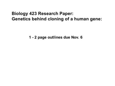 Research papers on genetics