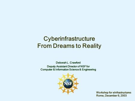 Cyberinfrastructure From Dreams to Reality Deborah L. Crawford Deputy Assistant Director of NSF for Computer & Information Science & Engineering Workshop.