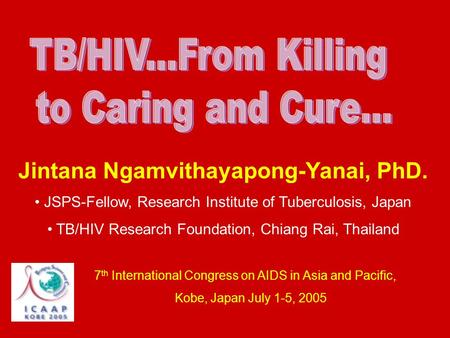 Jintana Ngamvithayapong-Yanai, PhD. JSPS-Fellow, Research Institute of Tuberculosis, Japan TB/HIV Research Foundation, Chiang Rai, Thailand 7 th International.