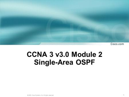 CCNA 3 v3.0 Module 2 Single-Area OSPF