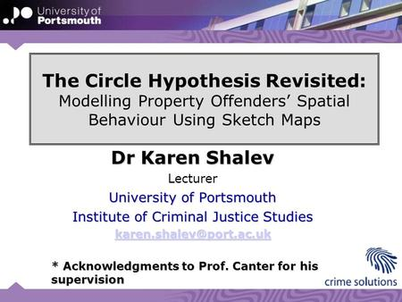 The Circle Hypothesis Revisited: Modelling Property Offenders' Spatial Behaviour Using Sketch Maps Dr Karen Shalev Lecturer University of Portsmouth Institute.