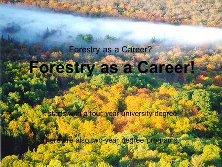 Careers in Forestry Forestry as a Career? Forestry as a Career! It starts with a four-year university degree. There are also two-year degree programs.