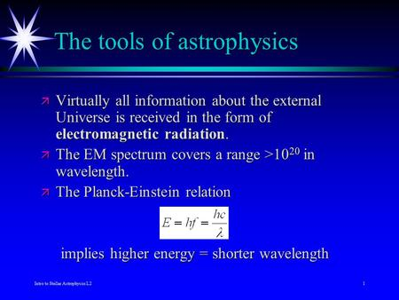Intro to Stellar Astrophysics L21 The tools of astrophysics ä Virtually all information about the external Universe is received in the form of electromagnetic.
