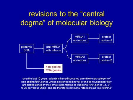 "Revisions to the ""central dogma"" of molecular biology over the last 10 years, scientists have discovered an entirely new category of non-coding RNA genes."
