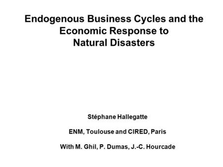 Endogenous Business Cycles and the Economic Response to Natural Disasters Stéphane Hallegatte ENM, Toulouse and CIRED, Paris With M. Ghil, P. Dumas, J.-C.
