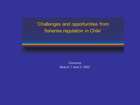 Geneva March 1 and 2, 2007 'Challenges and opportunities from fisheries regulation in Chile'