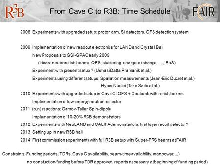 From Cave C to R3B: Time Schedule 2008 Experiments with upgraded setup: proton arm, Si detectors, QFS detection system 2009 Implementation of new readout.