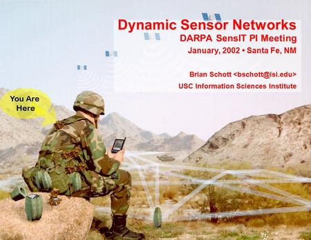 Dynamic Sensor Networks DARPA SensIT PI Meeting January, 2002 Santa Fe, NM Brian Schott USC Information Sciences Institute You Are Here.