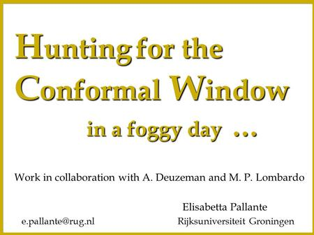 H unting for the C onformal W indow in a foggy day … in a foggy day … Elisabetta Pallante Rijksuniversiteit Work in collaboration.