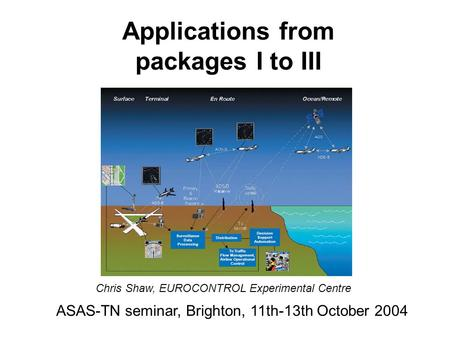 Applications from packages I to III ASAS-TN seminar, Brighton, 11th-13th October 2004 Chris Shaw, EUROCONTROL Experimental Centre.