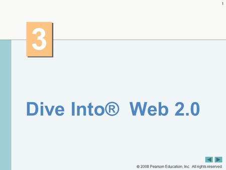  2008 Pearson Education, Inc. All rights reserved. 1 3 3 Dive Into® Web 2.0.