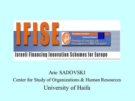 Arie SADOVSKI Center for Study of Organizations & Human Resources University of Haifa.