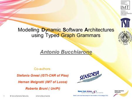 1© Nokia Siemens Networks Antonio Bucchiarone Marie Curie Host Fellowships for the Transfer of Knowledge (TOK) Modelling Dynamic Software Architectures.