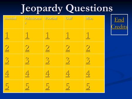 Jeopardy Questions End Credits End CreditsBaseball Palindrome s FootballGolfMisc. 1111 1111 1111 1111 1111 2222 2222 2222 2222 2222 3333 3333 3333 3333.