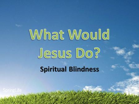 "Spiritual Blindness. Jesus Heals the Blind Man John 9:1-42 Born blind Jesus reveals the power of God A ""Sabbath"" healing The Pharisee's."