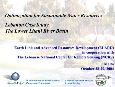 Optimization for Sustainable Water Resources