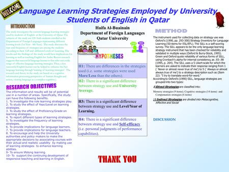 Language Learning Strategies Employed by University Students of English in Qatar Haifa Al-Buainain Department of Foreign Languages Qatar University The.
