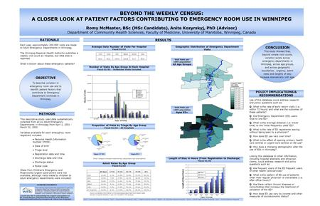 BEYOND THE WEEKLY CENSUS: A CLOSER LOOK AT PATIENT FACTORS CONTRIBUTING TO EMERGENCY ROOM USE IN WINNIPEG Romy McMaster, BSc (MSc Candidate), Anita Kozyrskyj,