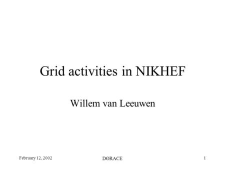 February 12, 2002 DØRACE 1 Grid activities in NIKHEF Willem van Leeuwen.