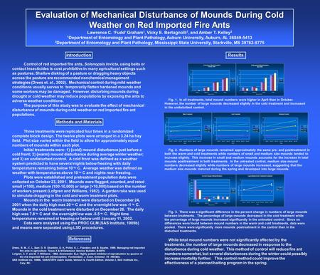 Evaluation of Mechanical Disturbance of Mounds During Cold Weather on Red Imported Fire Ants Lawrence C. 'Fudd' Graham 1, Vicky E. Bertagnolli 1, and Amber.
