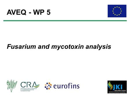 Fusarium and mycotoxin analysis AVEQ - WP 5. WP 5: Partners P4 Eurofins WEJ Contaminants GmbH (Germany) Scarlett Biselli, Ole Winkelmann, Simone Staiger.