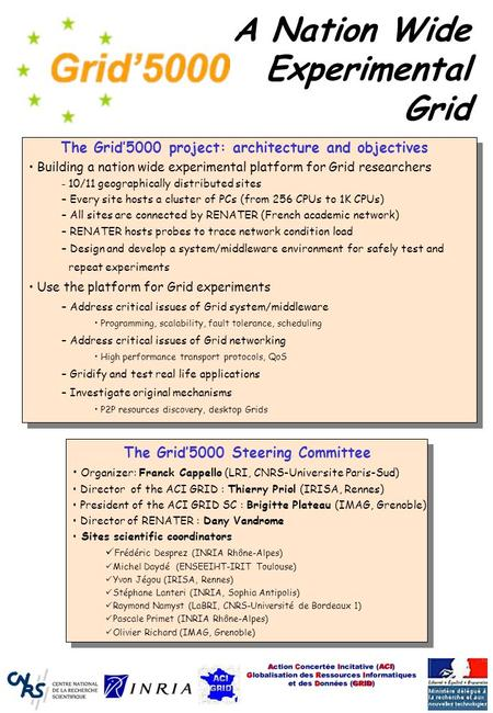 A Nation Wide Experimental Grid The Grid'5000 project: architecture and objectives Building a nation wide experimental platform for Grid researchers –