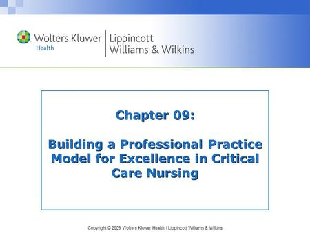 Copyright © 2009 Wolters Kluwer Health | Lippincott Williams & Wilkins Chapter 09: Building a Professional Practice Model for Excellence in Critical Care.
