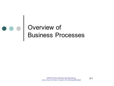 2-1 ©2003 Prentice Hall Business Publishing, Accounting Information Systems, 9/e, Romney/Steinbart Overview of Business Processes.